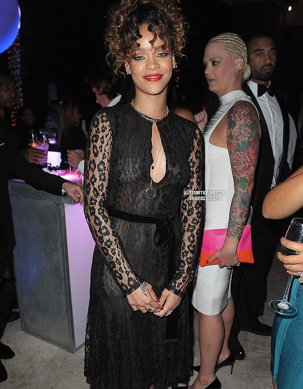 . 31/12/12 : Rihanna à la fête privée de Sean Combs pour le Nouvel An à Miami. Top/Flop pour sa robe ? .