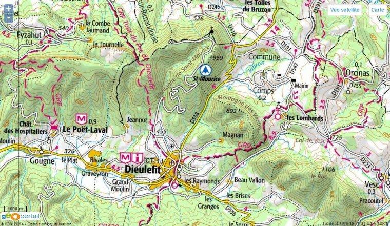 Topo ascension montagne St-Maurice (937m), à Dieulefit, en vélo