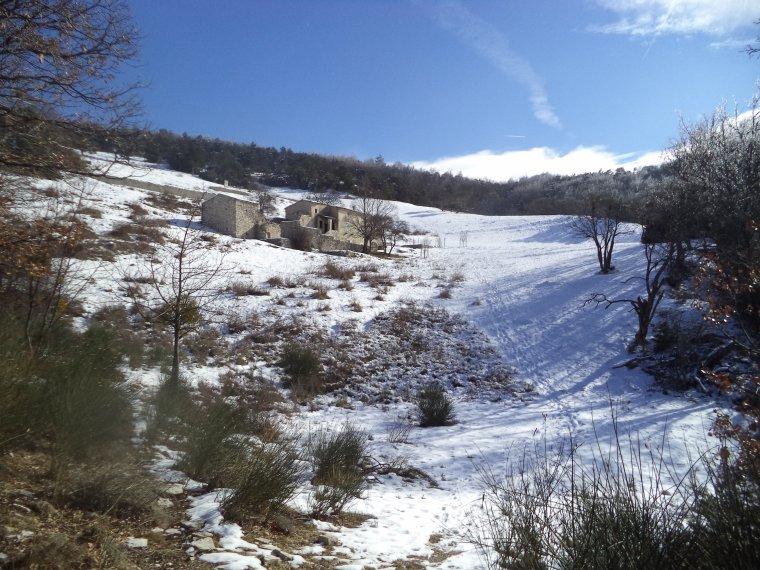 Randonnée en raquette à neige à la Lance avec maman, 60cm de neige, -13°C (photos 2)