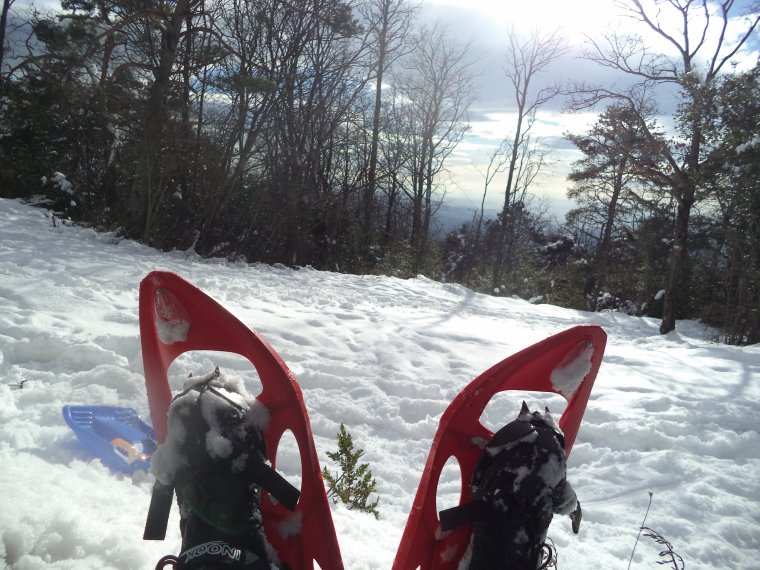 Randonnée en raquette à neige à la Lance avec maman, 60cm de neige, -13°C (photos 7)