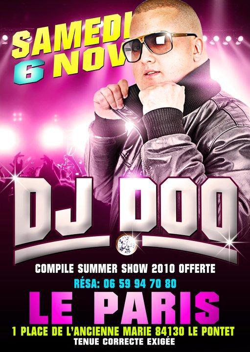 DJ DOO EN LIVE LE SAMEDI 6 NOVEMBRE AU PARIS AU PONTET