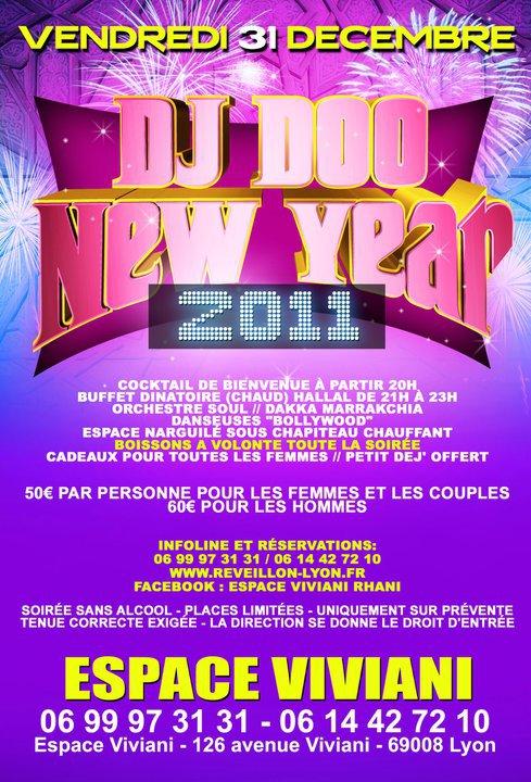 VENDREDI 31 DECEMBRE DJ DOO NEW YEAR 2011 A L ESPACE VIVIANI A LYON