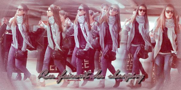 .  24/11/2013  :  Lea   repérée en train de faire du shopping.    J'aime sa tenue ! toujours simple mais sa lui va très bien.  beau TOP.[/font=Arial]    .