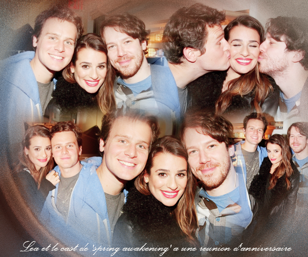""".  02/12/2013  : Lea   était présente a la soirée organisé pour la pièce """"Spring Awakening"""".    Il y avait tous les membres du Cast, dont son meilleur ami Jonathan Groff! Lea est vraiment sublime !  TOP.[/font=Arial]    ."""