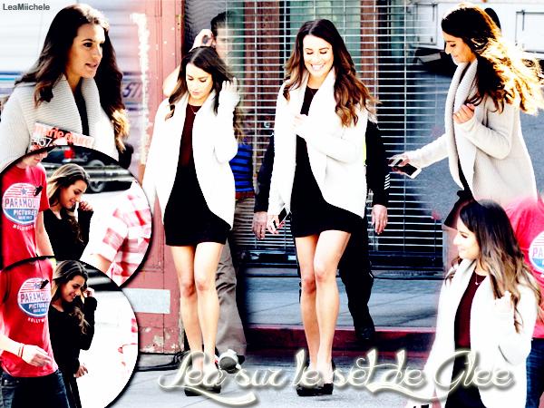.  19/02/2014  : Lea   était présente sur le tournage de Glee.    J'aime la tenue que porte Lea !! .  joli TOP.[/font=Arial]    .