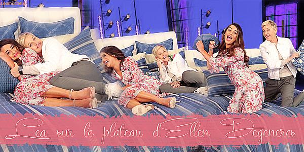.  15/03/2017  : Enregistrement de   l'émission d'Ellen Degeneres diffusé le 16/03.     Lea a enregistré l'émission qui sera diffusé le 16/03 .. Lea est toute jolie, j'aime son make up et sa coiffure! Sa robe est très jolie TOP   [/font=Arial]    .