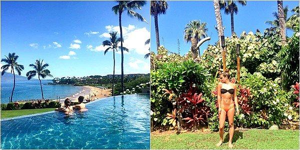 .  29/05/2016  : Lea et son amie sur la plage de Maui a Hawaï .     Lea a l'air tellement heureuse! j'aime son maillot de  bain! TOP.      [/font=Arial]    .