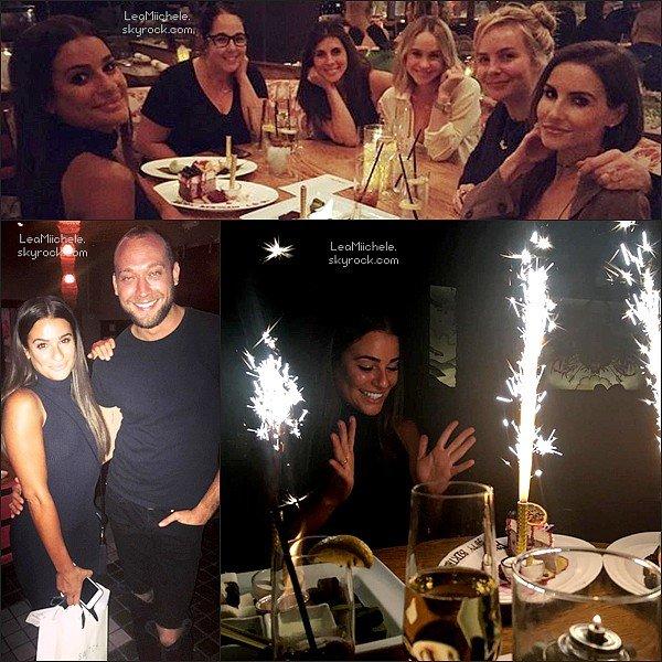 """.  21/08/2016  : Lea et Becca quittant le restaurant """"Roku"""".    La belle a fêter son anniversaire! Coté tenue : j'aime sa robe! TOP.      [/font=Arial]    ."""