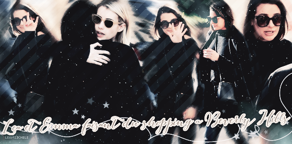 """.  06/01/2017  : Lea et Emma sortant du """"Barneys"""" à New York.     C'est encore un jolie Top pour moi ! Lea est vraiment jolie! J'aime ses cuissardes et ses lunettes.TOP.      [/font=Arial]    ."""