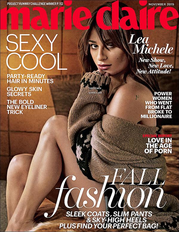 """.  13/10/2015  : Lea en couverture du magazine """"Marie Claire"""" .     La belle fait la couverture pour le mois de Novembre! les photos sont parfaite !!  TOP.      [/font=Arial]    ."""
