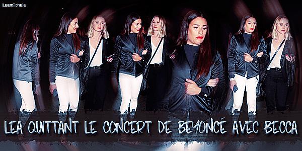 .  14/09/2016  : Lea et Becca quittant le concert de Beyoncé.     Tenue vraiment très simple.BOF.      [/font=Arial]    .