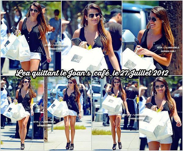 .  27/07/2012 : Lea a été vue quittant le Joan's café.  Lea est juste magnifique !!!! j'adore sa tenue  c'est simple mais super jolie ! je suis également fan de ses chaussures :) C'est un  TOP.[/font=Arial]    .