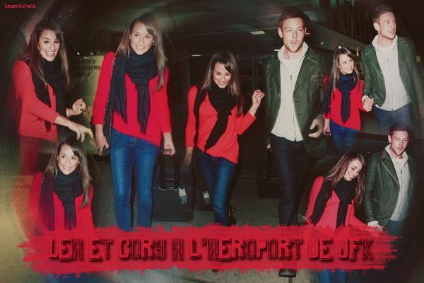⇢ ♬ ♪ ♫ _ CANDIDS_ ● Lea Michele et Cory ont été vus à l'aéroport JKF à New York, le 05/03/13♫  ⇣    ▲Lea est trop belle ! J'adore comment elle est habillée ! son haut rouge est trop beau.  GROS TOP ▲[/font=Tahoma]   .