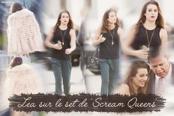 """.  22/03/2015  : Lea était sur le tournage de """"Scream Queens"""" .     J'aime beaucoup la robe de Lea ! Très jolie ! TOP.      [/font=Arial]    ."""