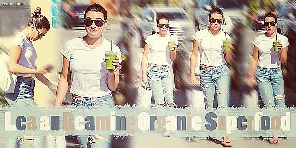 .  13/03/2017  : Lea   quittant le Bearning Organic Superfood à Hollywood.     Lea a pris son jus vert habituel! Coté tenue: tenue très simple mais assez jolie!  Petit TOP   [/font=Arial]    .