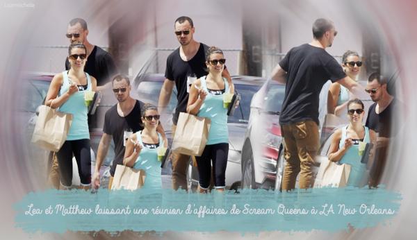 """.  13/06/2015  : Lea et Matthew sortant du restaurant """"Marvin"""".     Lea est au naturelle! Elle est très jolie. J'aime beaucoup sa tenue ! Sa fait très classe TOP.      [/font=Arial]    ."""