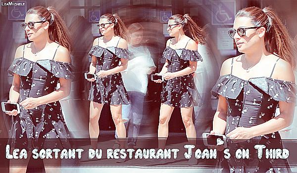 .  22/08/2017 : Lea a été vue en compagnie de sa mère  Edith sortant du restaurant Joan's on Third à Studio City.  Lea est très jolie !! Tenue simple mais top ! j'aime beaucoup! j'aime également ses baskets. C'est un  TOP.[/font=Arial]    .