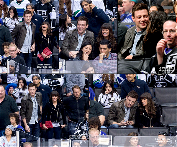 .  23/03/2013 : Lea et Cory ont été vus arrivant au Staples Center.  Les tourtereaux étaient venus voir un match qui opposé les Canucks contre Los Angeles King's.  C'est un  TOP.[/font=Arial]    .