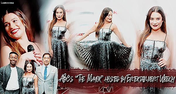 .  27/09/2017 : Lea était présente a l'événement : ABC's 'The Mayor' hosted by Entertainment Weekly   Lea est toute jolie, j'aime assez sa robe, ce que j'aime un peu moins c'est la couleur de son rouge a lèvres, mais c'est un   TOP.[/font=Arial]    .