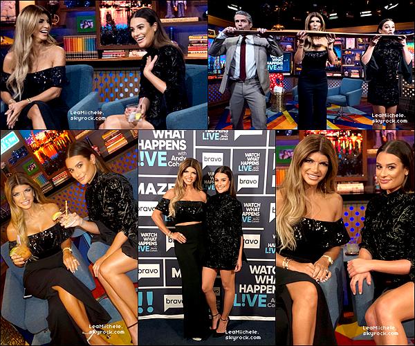 """.  11/10/2017 : Lea s'est rendue dans les studios de  SIRIUSXM, puis dans l'émission """" Watch What Happens Live"""".   Lea est sublime! J'aime beaucoup ses deux tenues!  ce sont   deux TOPS.[/font=Arial]    ."""