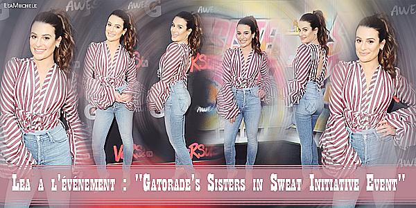 """.  04/12/2017  ► Lea était présente a l'événement : """"Gatorade's Sisters in Sweat Initiative Event  """" a Santa Monica.    J'aime beaucoup sa tenue !! c'est vraiment très jolie ! et sa coiffure lui va super bien ! C'est un très beau TOP.[/font=Arial]    ."""