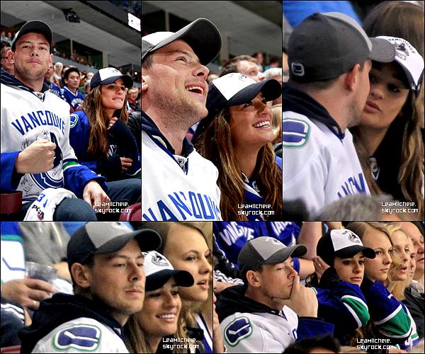 """.  01/05/2013  :  Lea a assisté en compagnie de Cory au   match """" NHL'S SAN JOSE SHARKS VS VANCOUVER CANUCKS"""" .    ils sont tellement mignon tous les deux !!! j'aime tellement les voir ensemble! j'aime leur complicité. C'est un TOP.[/font=Arial]    ."""