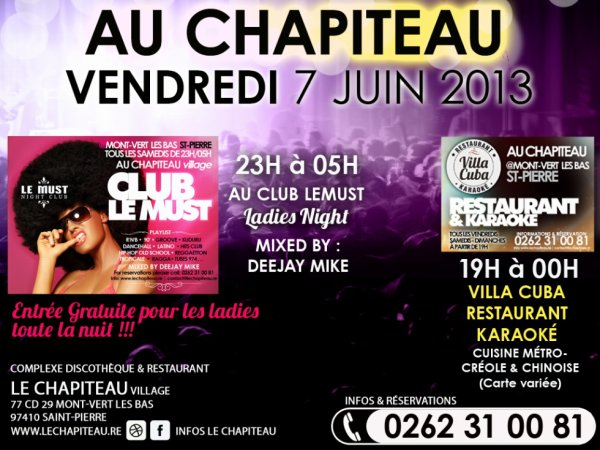 >> LADIES NIGHT  >> VENDREDI 07 JUIN 2013 - AU CHAPITEAU