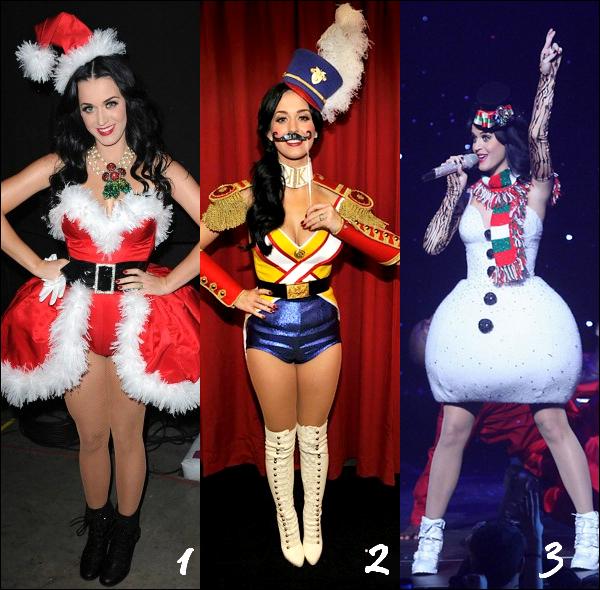 """_  _______________Qui? Katy Perry_______________Quand?15/12/10________Categorie?Concert Tour  _____  _____» Katy Perry a été habillée par Victoria's Secret et Todd Thomas durant toute la série de Jingle Ball concert. Katy nous a dit qu'elle """"adorais ce design """" et que Todd Thomas pourrait bien travaillée sur ces costumes de tous ces prochains concert. Je sais aps vous , mais moi j'adore ces tenues super fun et sexy c'est pourquoi je voulais vous demander : Aimez-vous ? Et si oui ,Laquelle préférez-vous? :D Alors , quels est ta tenue préférée? ."""