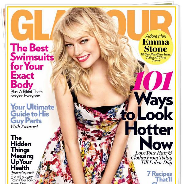 _  _______________Qui? Emma Stone_______________Quand?28/03/11________Categorie?Shoot  _____  _____»Emma a posée pour la mois de mai du magazine Glamour. Pour etre Glamour, Emma l'es :o Avec sa magnifique robe fleurie D&G et son make-up genre printemps.. c'est vraiment classe ♥ J'adore touuus :D.  Alors ,comment vous les trouvez? Top oder Flop? .  _Liens quotidiens:_Autre___Album du moment♥___Blog music___X-Factor _____Pub Blog: Vrai-Fan-de-Twilight (règles).