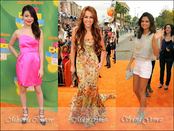 """_  _______________Qui? Peoples_______________Quand?02/04/11________Catégorie?Event  _____  _____» Hier soir a eu lieu les Kids Choices Awards. Pour ceux qui connaissent pas c'est un genre d'Awards avec que des Disney Teens ^^. Au fur et a mesure des années il y a de moins en moins de photos cool x). Mon meilleure souvenir restera donc les Kids Choices Awards de 2009 avec Zanessa et le cast de HSM .. Enfin breff aucuns rapport x'). Je vous ai mis les personnes les plus connues chez nous (enfin pour moi) et donc leur tenues avec ahaha! Pour les grand gagnants de la soirée et bien c'est (sans surprise) Justin Bieber qui remporte 2 prix , dont le plus choquant celui de chanson de l'année avec """"Baby"""" et ouais xD Sinon bah sans suprise non plus que Miley et Selena arrive derrière THE KING j'ai nommée Juuustin (aaaa). Ouais je blagounne. Alors ,comment vous les trouvez? Top oder Flop? .  _Liens quotidiens:_Souvenirs 2009___Album du moment♥___Blog music___X-Factor _____Pub Blog: Pretty-RachelB (règles)."""