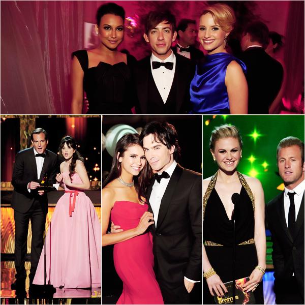 """_  _______________Qui? People_______________Quand?18/09/11________Catégorie?Event  _____  _____» Et oui j'avoue que maintenant les Emmy Awards ça semble loin et tout , c'était dimanche et j'avais pas pu faire l'article..mais vu que ça fait moins d'une semaine je considère pas que ça soit encore un """"flashback"""" ;). Pour ceux/celle qui sont comme moi, qui peuvent passer sur skyblog que le week-end et qui sont donc un peu a la ramasse voici ce que vous avez manquez dimanche soir héhé! Donc déjà les Emmy Awards c'est quoi ? c'est encore une soirée avec des remises de prix..comme d'hab' quoi. La cérémonie ressemble aux autres, le tapis rouge aussi..enfin en gros la différence c'est juste sur """"qui va réunir le plus de stars donc d'audience"""" :p. J'vous ai mis le tapis rouge, y'avais plein de gens que je connaissais pas donc j'ai essayé de vous mettre les plus connues :D. Les robes longues rouge et bleu étaient de sortie ce soir là xD. y'avais limite que ça xD. Le Top de la soirée c'était Nina Dobrev ; sans aucuns doutes *0* Elle était plus que parfaite :D. Niveau récompense, les Emmys c'est centré sur les show télévisé en faite, donc les grand gagnant de la soirée ont été Modern Family, Friday Night Lights, The Daily Show with Jon Stewart et Downton Abbey..cherchez pas, moi non plus je connais aucuns de ses trucs xD. Mais bon ils ont gagné, donc c'est cool pour eux ;p. Franchement je trouve qu'il y avait plutot pas mal de stars, et pas mal de tops j'en compte 6 (parmi les femmes seulement, les mecs c'est pas trop la prise de tete pour etre bg, faut juste mettre un costard) sur 12 donc la moitié :p. Alors votre avis? j'vous ai manquez hihi ? ♥.   .  _"""