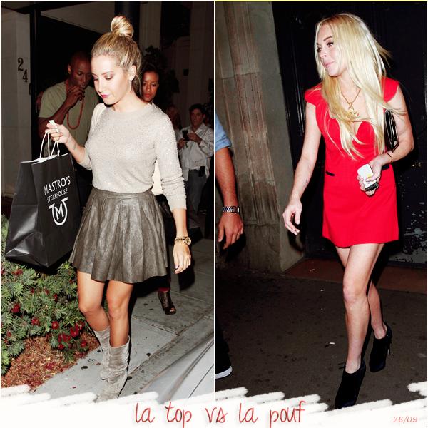 """_  _______________Qui? People_______________Quand?01/01/11________Catégorie?Event  _____  _____» Vous le savez surement (j'espère) en ce moment c'est la Fashion Week de Paris! Pas mal de stars ce baladent donc dans notre belle capitale, assistent aux défiles (ou en font partie, comme Miranda Kerr) etc.. comme je ne peux pas poster d'article la semaine, c'est vrai qu'il y a beaucoup de choses que je voulaient vous montrer, et dans cet élan de fashion, mode blablabla j'ai décidé de vous faire un petit résumé mode de cette fin de semaine (et de mois d'ailleurs : bonjour l'Octobre). Bref. Pour commencer je vous ai mis un petit mix de mes tenues préférées des candids d'hier (30 septembre). Je cherchais une idée d'article et j'ai remarqué qu'il y avaient vraiment beaucoup de top avec plein de must de cet été en plus : le short en cuir noir, la dentelles, les t-shirs ample, les pat-d'ef etc.. j'ai envie de dire """"coup de coeur"""" quoooi!  :p ♥. En fouillant aussi j'ai vu la tenue d'Ashley Tisdale; j'ai été choquée tellement elle était belle :O Sérieusement, on dirait une ballerines hihi *-*. Et donc voila j'étais en mode : omgooosh trop belle waw waw waw..je descend ma souris et là choc  yeux-tale : une grosse pouf dégueulasse habillé comme une fille-qui-fait-les-trotoirs..ah .. mais..c'est Lindsay Lohan :O ah..t'es fan d'elle..ah bah pardoon hein j'savais pas roooh! xD (oui je me fais des dialogues toute seule et? :p) Non mais c'est vraiment mais vraiment du gachis quoi ><. Et donc Fashion Week oblige, j'ai regardé un peu les tenues, les stars qui étaient en ce moment là-bas..et bah c'est pas du jolie jolie hein! j'ai trouvé les robes de Léa et Leighton et là j'ai été (encore une fois) déçue..enfin y'avais moyen de faire un truc pas mal #sisii mais je sais pas je trouve les tenues bof bof :/ C'est surement trop """"mode des défilé"""", trop truc que tu peux jamais porter dans la vraie vie quoi x). Dites moi vos avis hihi :).  .  _"""