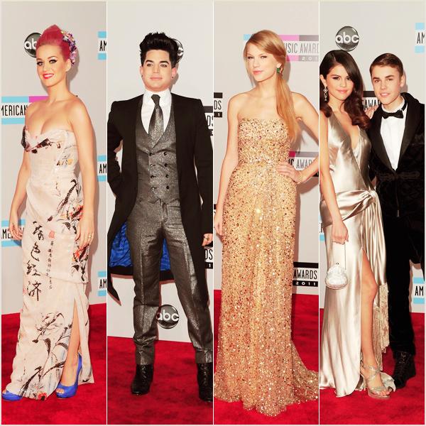 _  _______________Qui? Peoples_______________Quand?20/11/11________Catégorie?Event  _____  _____» Dimanche soir a eu lieu la cérémonie des AMAs alias American Music Awards 2oll (ouais au bout d'un moment les noms se ressemblent tous, on est d'accord :p). Pas trop besoin d'expliquer le fonctionnement de la soirée je pense que tous est dis dans le titre, c'est la même chose que toute les autre soirées sauf que là c'est que pour les chanteurs et c'est au USA :p. Les grandes gagnantes de la soirée sont... TAYLOR SWIFT! ET ADELE! :p Avouez vous pensiez trop que ça allait etre Lady Gaga ou Justin Bieber comme d'habitude heein! :p Et bah nah! ça fait plaisir franchement,ça change un peu :p. Suivis par Nicki Minaj qui en a gagné 2 :) Et Bieber et Gaga zéro la tête a .... TOMO muhaha (oui chez moi c'est Tomo, enfin c'est plus Toto depuis que je sais que le batteur de 30 seconds to mars s'appelle Tomo XD. Bref. ) Niveau performance Chris Brown a encore trooop assuré évidemment haha! (voir la performance en trop bonne qualité j'suis trop fière (a)) Nicki Minaj aussi *O* Elle a fait sa chanson avec David Guetta, encore et toujours le seul français #sisi représente! :p (pour voir la vidéo c'est laaa).  Sinon Justin Bieber a chanté sa chanson pour Noel là, j'arrive pas a le dire alors l'écrire xD (voir la vidéo) et Maroon 5 et Christina ont aussi fait leur tube trop trop bien :D (voir la vidéo également!). Bon voila pour les autre vous vous démerdez xD. Coté tapis rouge pas mal de bof.. alors le Bieber on dirait trop qu'il se cherche mais ce qu'il a tenté l'autre soir c'est vraiment a oublier xDD. Mon top a moi c'est Taylor, elle est toujours belle mais là..savoir qu'elle a gagné ça la rend encore plus belle :p.    .  _