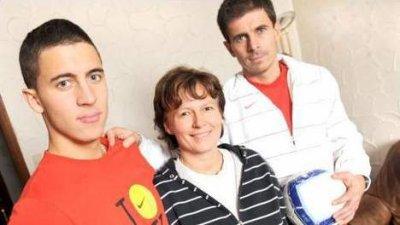 Eden Hazard avec ses parents