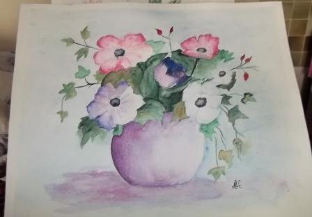 anémones, ma dernière aquarelle en A4 sur papier sennelier 300 gr grain fin