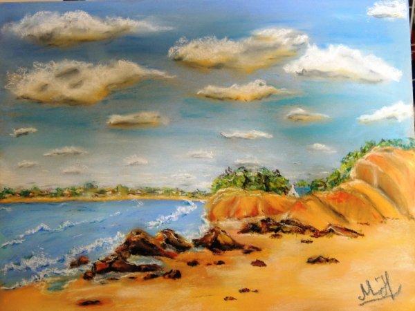paysage de mer aux pastel sec !