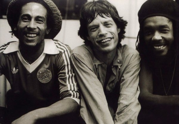 Bob Marley, Mike Jagger and Peter Tosh