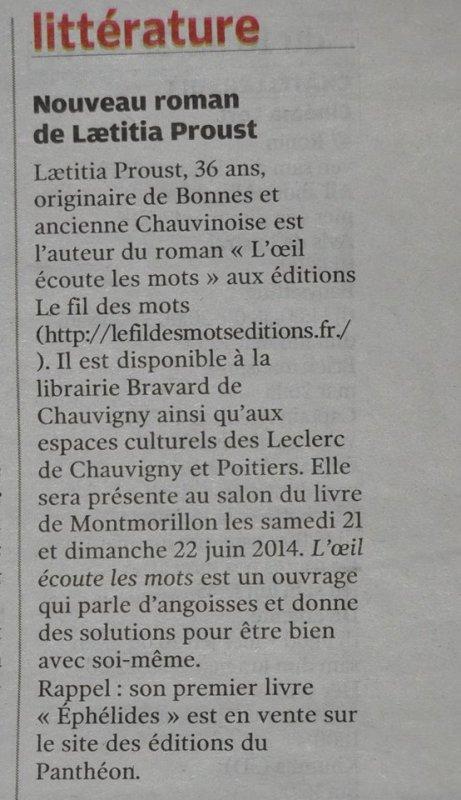 Nouvelle république article Proust laetitia