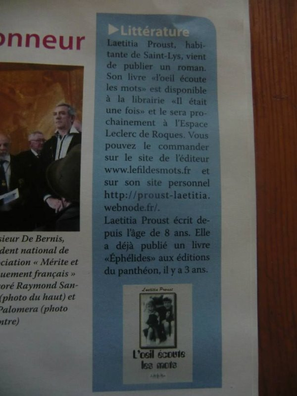 ARTICLE REVUE DE ST LYS PROUST LAETITIA
