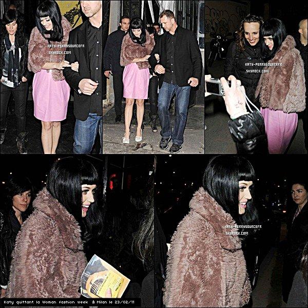 . 23 /02/11 [/g:]Katy enchaîne son California Dreams Tour à Milan ( Italie) Elle a également été aperçu à la Fashion week de Milan. .