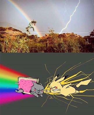 Nyan Cat VS Pikatchu!!
