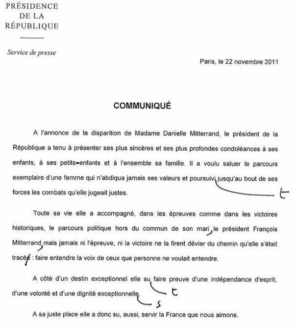 Le communiqué officiel de l'Elysée sur la mort de Danielle Mitterrand est truffé de fautes d'orthographe !