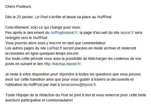 Bye Bye lepost.fr, bonjours HuffingtonPost.fr !