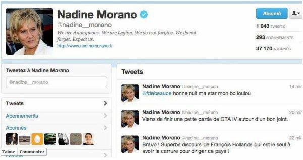 Anonymous: Ils détournent le compte twitter de Nadine Morano
