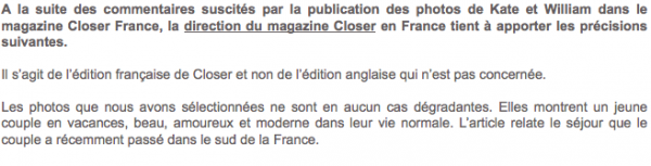 Closer : Decouvrez la mise au point du magazine sur son site internet après la polémique des photos de Katte Middelton Topless