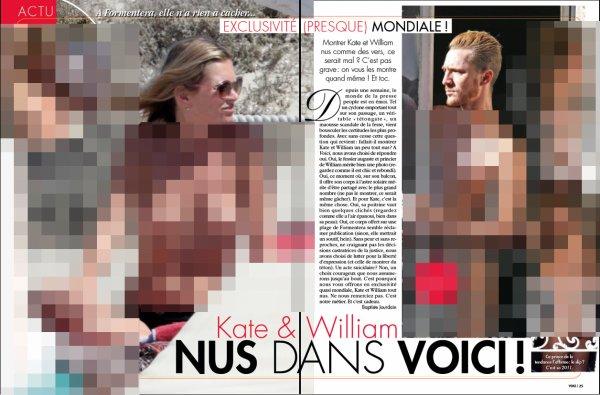 Scandale  / Le prince William & Kate Middelton: Voici va publier dès demain des photos entièrement nus du couple princier