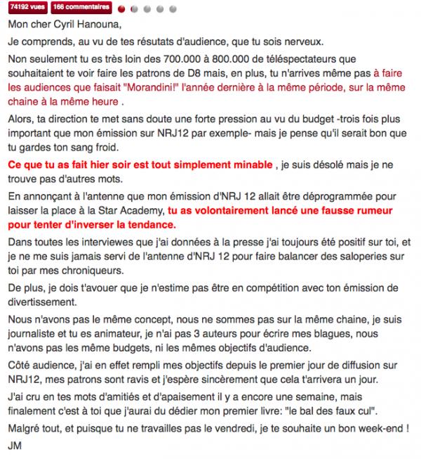 ( Vidéo) Jean-Morandini : Il clash Cyril Hanouna et se ridiculise