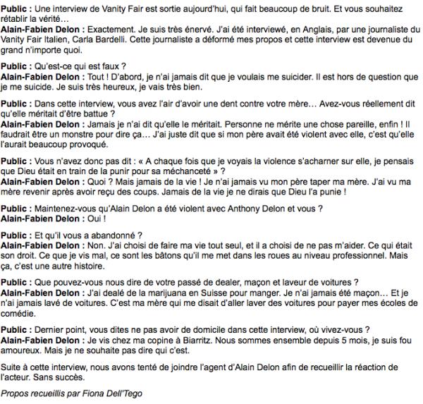 """Alain-Fabien Delon : """"Cette interview dans Vanity Fair est un tissu de mensonges !"""""""