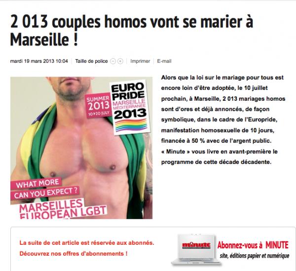 Minute (journal d'Extrême Droite): Ils comparent les homosexuels à des animaux échoués sur la plage