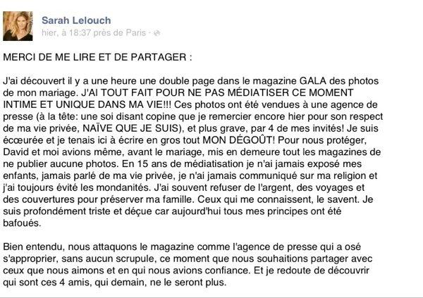 Sarah Lelouch: Sur son Facebook, elle accuse une amie d'avoir vendu les photos de son mariage à une agence de presse